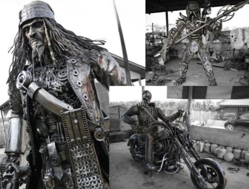 Kreatworks-creates-steampunk-pop-culture-sculptures-from-scrap-metal