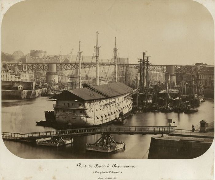 Pont de Brest à Recouvrance, vue prise de l'arsenal