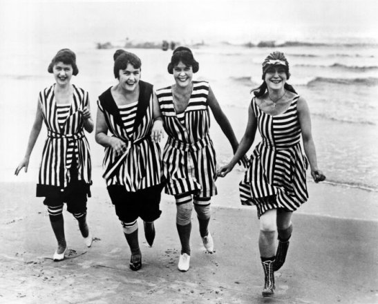Four Women In 1910 Beach Wear