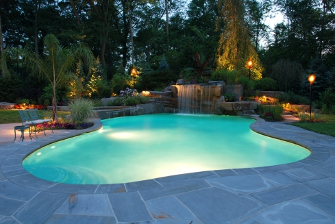 tranquil-color-led-and-fiber-optic-waterfall-lights-inground-pool-installation-allendale-new-jersey